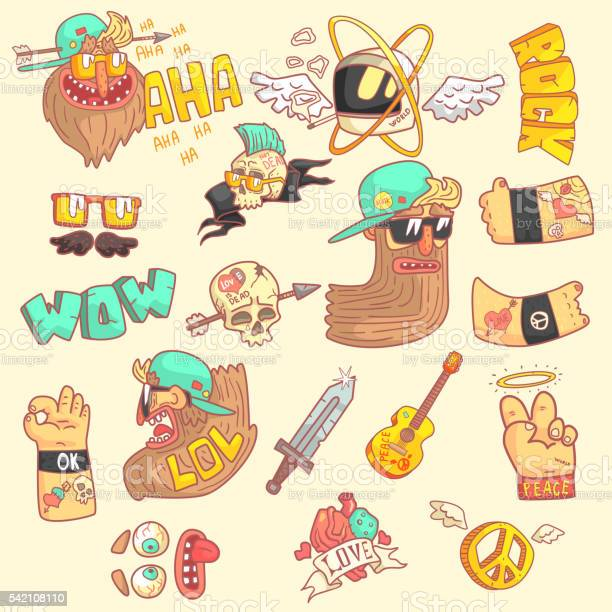 Set Of Stylized Rock Themed Stickers Stock Illustration - Download Image Now
