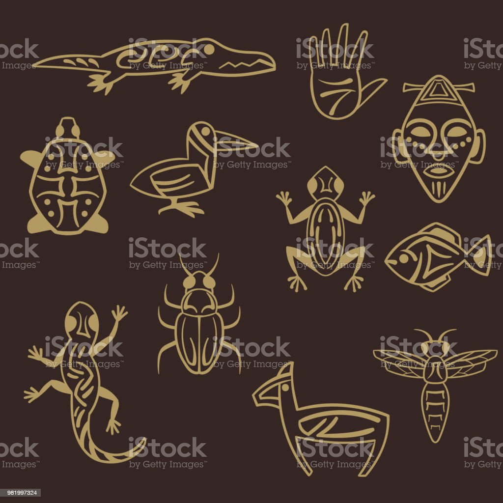 set of stylized tribal african symbols vector art illustration