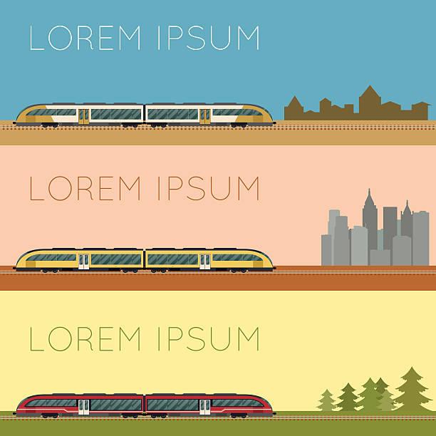 illustrazioni stock, clip art, cartoni animati e icone di tendenza di gruppo di treno suburbano banner - subway