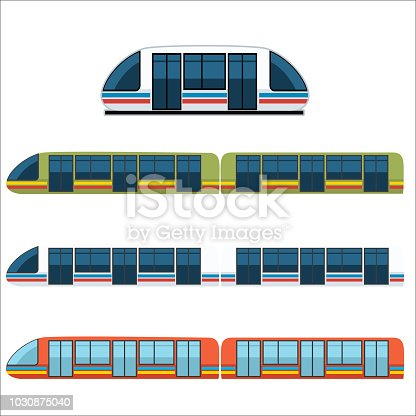 Set of trains in different lengths and colors.