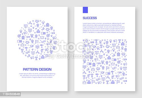 Set of Achievement and Success Icons Vector Pattern Design for Brochure,Annual Report,Book Cover.