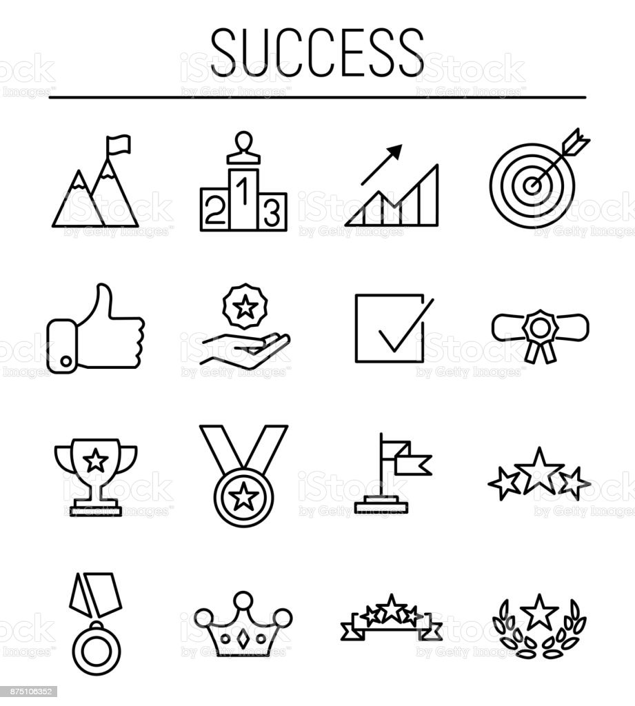 Set of success icons in modern thin line style. vector art illustration