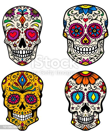 Set of sugar skull isolated on white background. Day of the dead. Dia de los muertos. Design element for poster, card, banner, print. Vector illustration