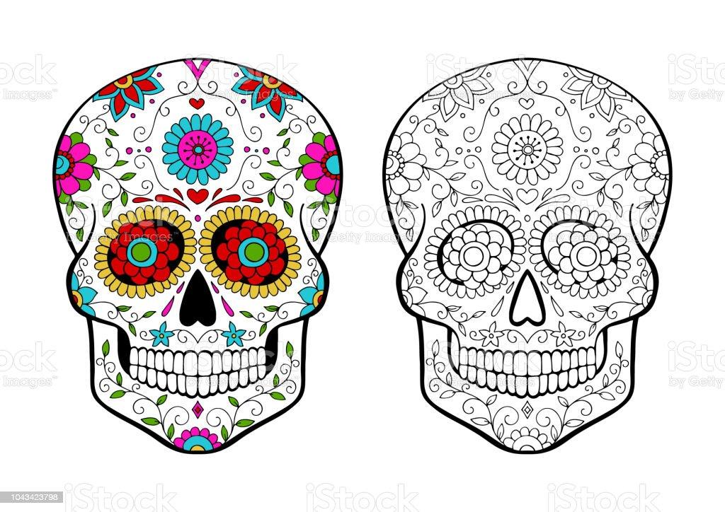 set of sugar skulls coloring page stock illustration