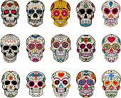 Set of sugar skulls illustrations. Dead day. Dia de los muertos.