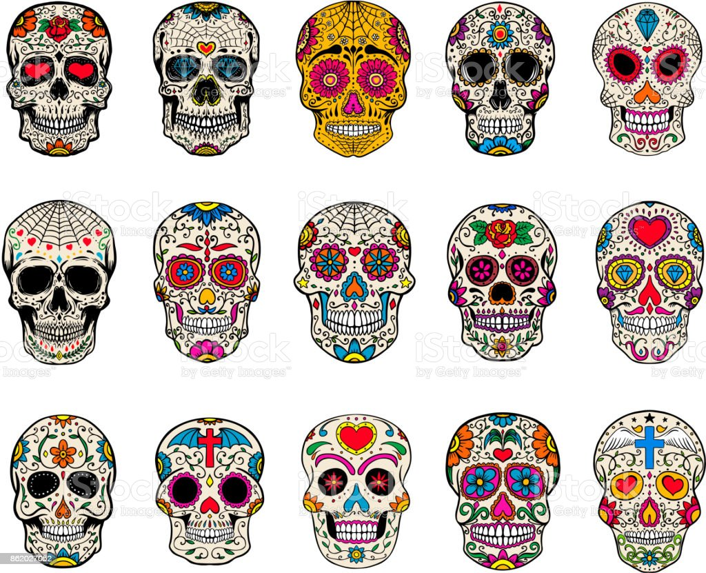 Set of sugar skulls illustrations. Dead day. Dia de los muertos. vector art illustration