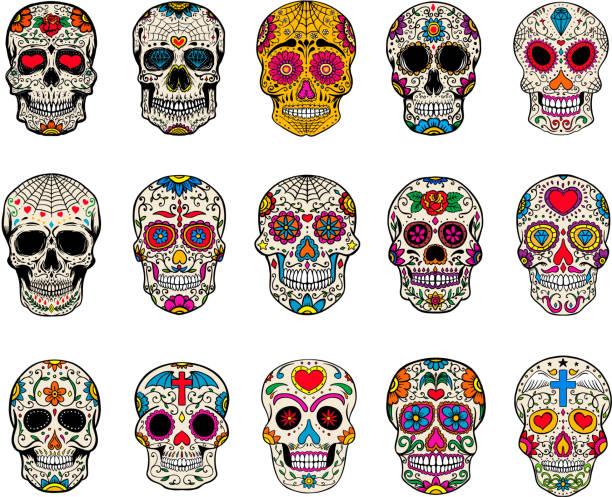 Set of sugar skulls illustrations. Dead day. Dia de los muertos. vector art illustration
