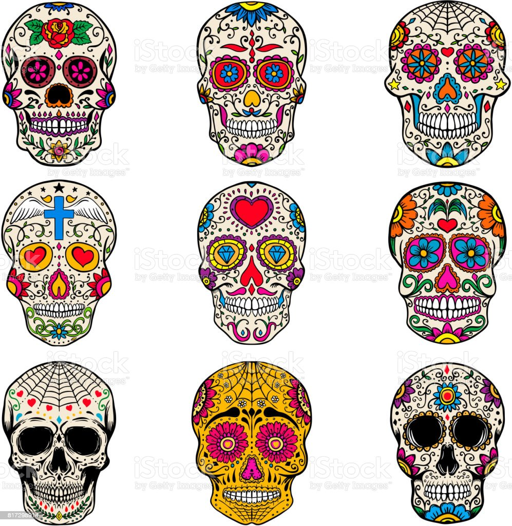 Set of sugar skulls isolated on white  background. Day of the dead. Dia de los muertos. Vector illustration vector art illustration