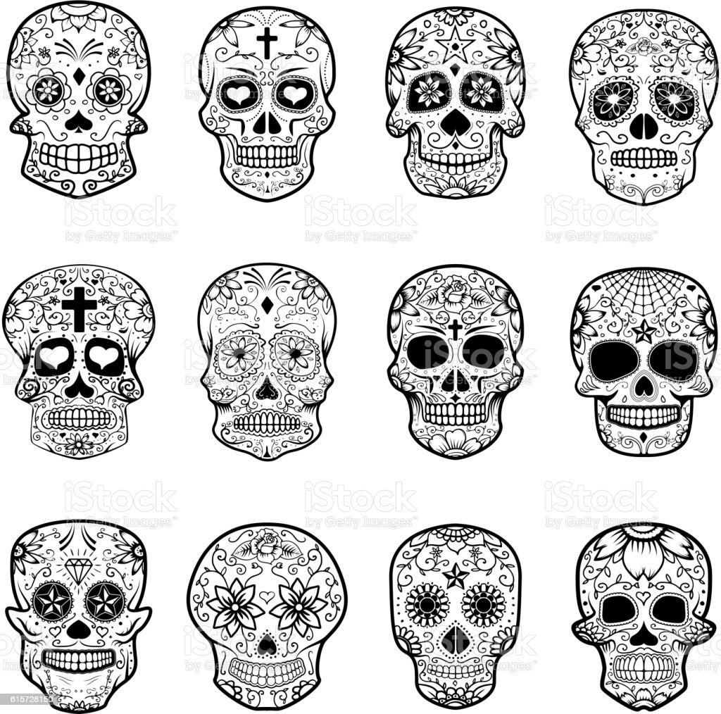Set of Sugar skulls isolated on white background. vector art illustration
