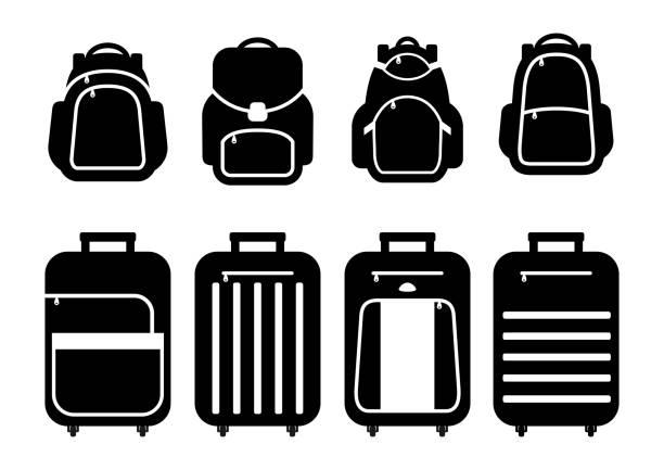 stockillustraties, clipart, cartoons en iconen met set koffers silhouetten en rugzak pictogrammen. vectorillustratie. - schooltas