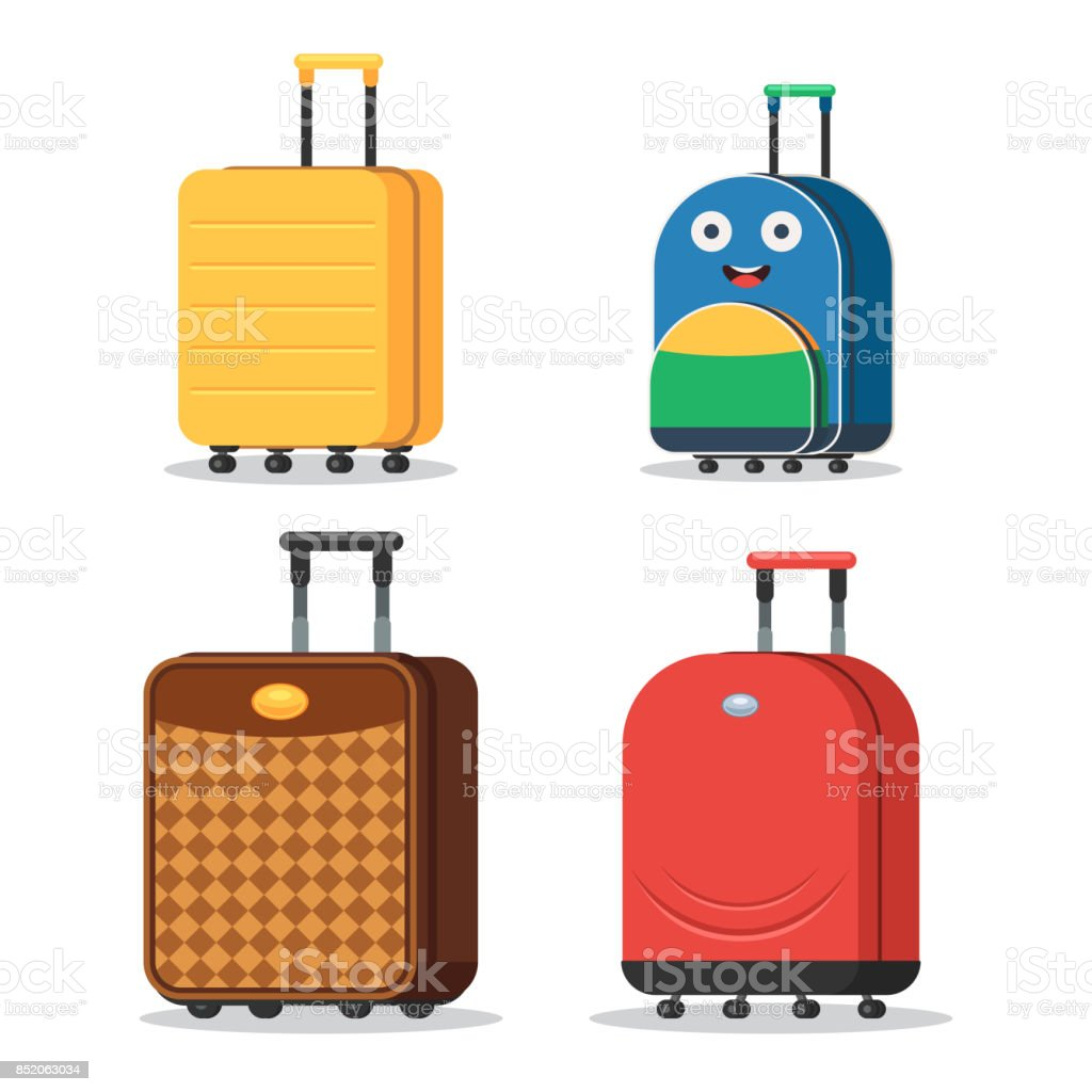 Set of suitcases vector art illustration