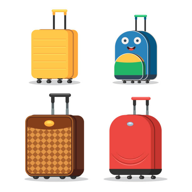 set of suitcases - luggage stock illustrations