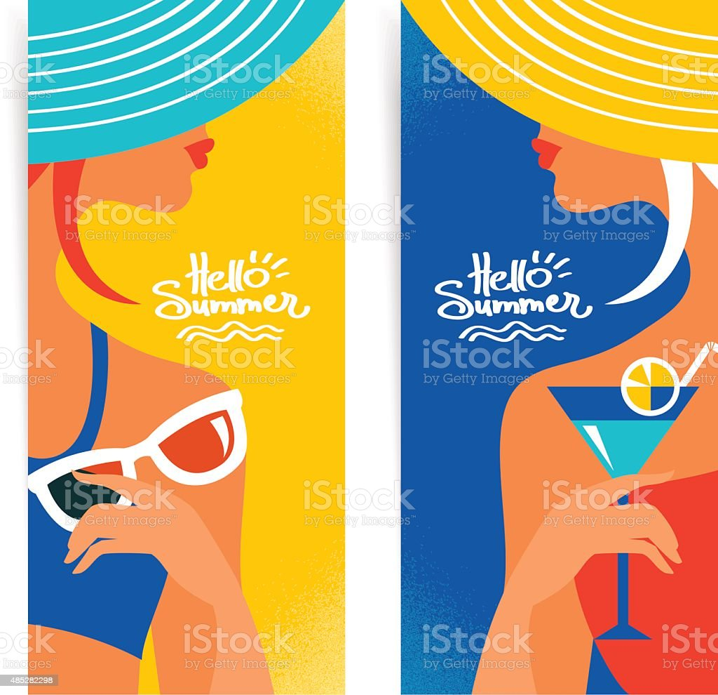 Set of summer banners with beautiful women silhouettes. Vector i vector art illustration