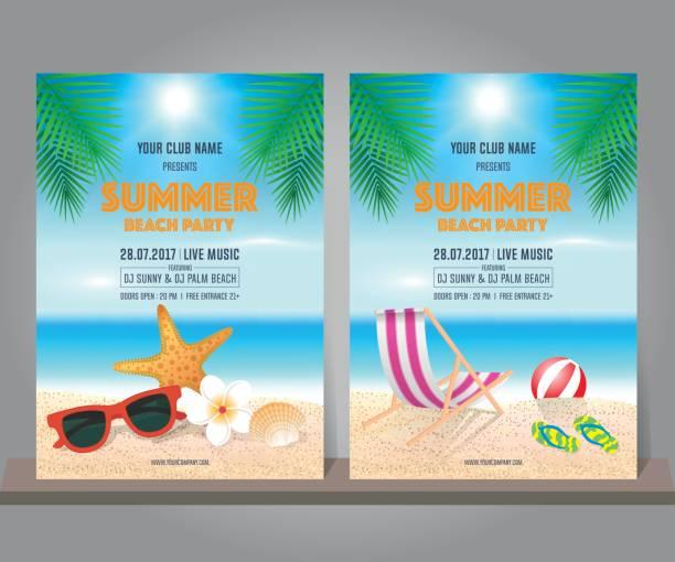 ポスター、チラシ、バナーの夏ビーチ パーティー デザイン テンプレートのセット。夏の熱帯背景。ベクトルの図。 ベクターアートイラスト