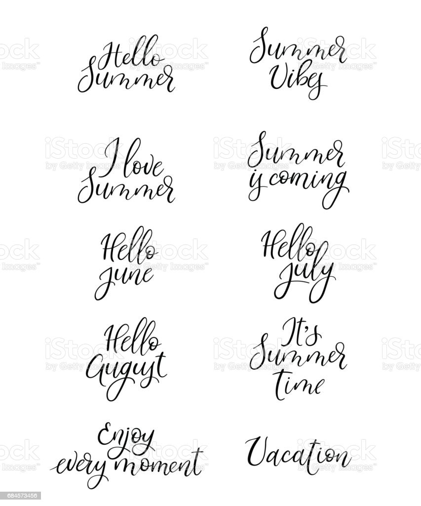 Set Of Summer Calligraphy Vacation Quotes Phrases And Words Handwritten Royalty Free