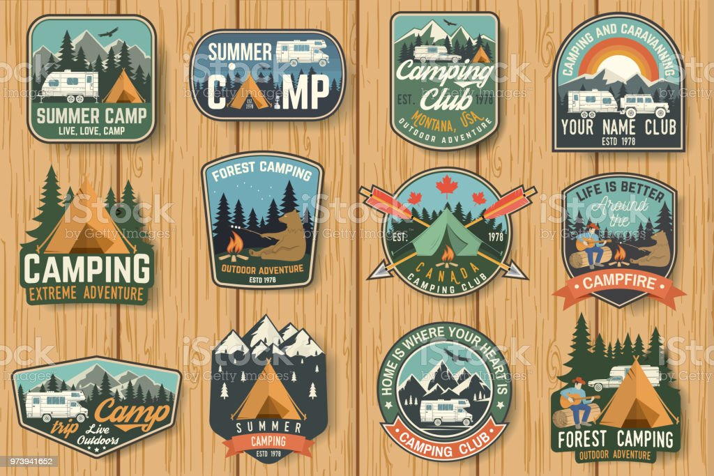 Set of Summer camp badges on the wood board. Vector