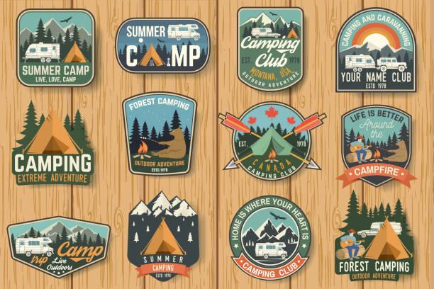 ilustrações, clipart, desenhos animados e ícones de conjunto de acampamento de verão emblemas no placa de madeira. vector - exterior