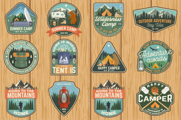 illustrazioni stock, clip art, cartoni animati e icone di tendenza di set of summer camp badges. vector. concept for shirt or logo, print, stamp, patch. vintage typography design with rv trailer, camping tent, campfire, bear, marshmallow axe and forest silhouette - pezze di stoffa
