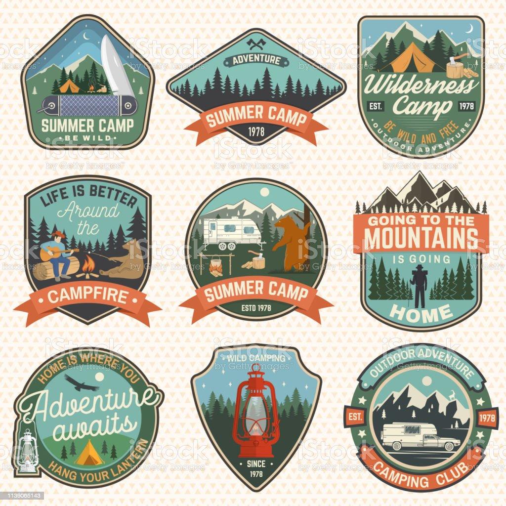 Set of Summer camp badges. Vector. Concept for shirt or logo, print,...