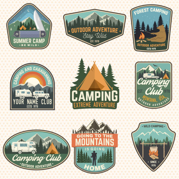 Set of Summer camp badges. Vector. Concept for shirt or logo, print, stamp, patch. Vintage typography design with rv trailer, camping tent, campfire, bear, man with guitar and forest silhouette Set of Summer camp badges. Vector. Concept for shirt or logo, print, stamp, patch or tee. Vintage typography design with rv trailer, camping tent, campfire, bear, man with guitar and forest silhouette adventure designs stock illustrations