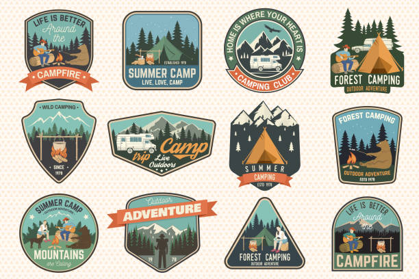 set of summer camp badges. vector. concept for shirt or , print, stamp, patch or tee - caravan stock illustrations