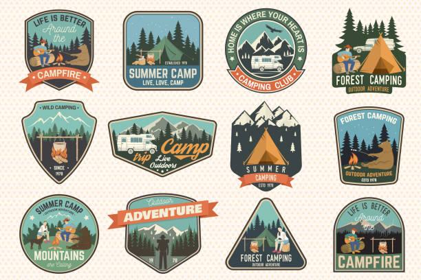 stockillustraties, clipart, cartoons en iconen met set zomerkamp badges. vector. concept voor shirt of, afdrukken, stempel, patch of tee - caravan