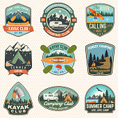 Set of summer camp, canoe and kayak club badges. Vector. Concept for patch, stamp. Retro design with camping, mountain, river, american indian and kayaker silhouette. Extreme water sport kayak patches