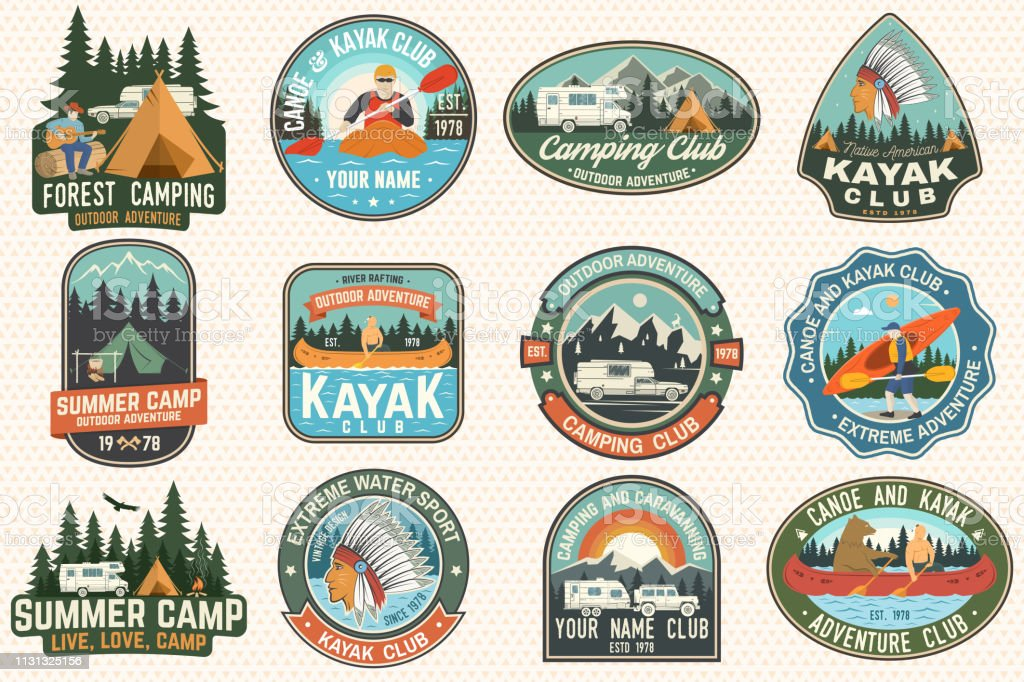 Set of summer camp, canoe and kayak club badges. Vector. For patch. Design with camping, mountain, river, american indian and kayaker silhouette. Extreme camp and water sport kayak patches vector art illustration