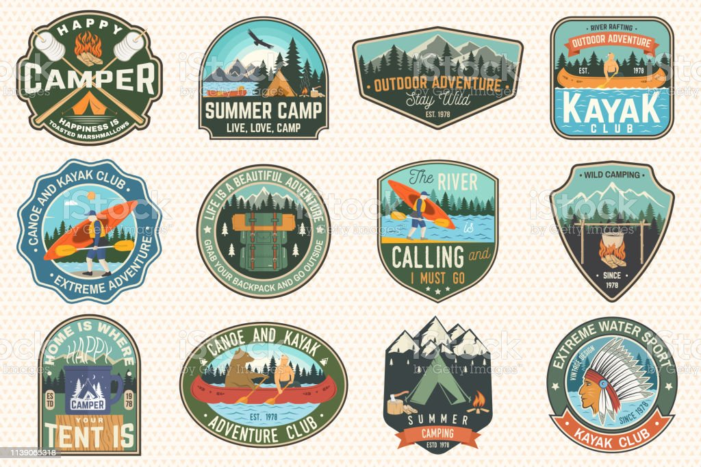 Set of summer camp, canoe and kayak club badges. Vector. For patch. Design with camping, mountain, river, american indian and kayaker silhouette. Extreme camp and water sport kayak patches - Royalty-free Acampar arte vetorial