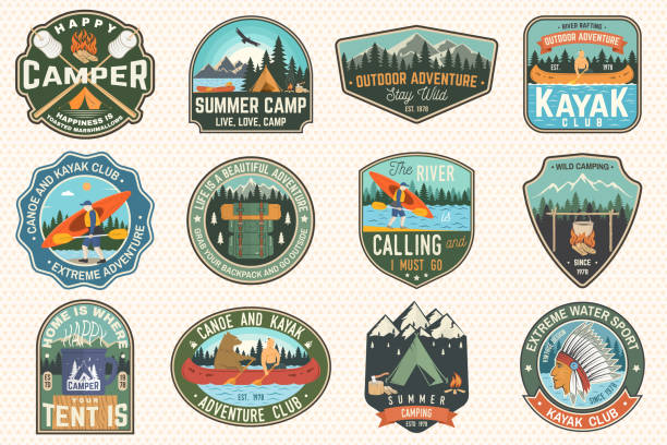 stockillustraties, clipart, cartoons en iconen met set van de zomerkamp, kano en kajak club badges. vector. voor patch. design met camping, mountain, river, american indian en kayaker silhouet. extreme camp en water sport kajak patches - buitenopname