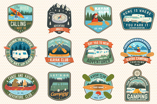 Set of summer camp, canoe and kayak club badges. Vector. For patch. Design with camping, mountain, river, american indian and kayaker silhouette. Extreme camp and water sport kayak patches