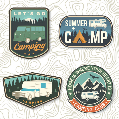 Set of Summer camp patches. Vector Concept for shirt or logo, print, stamp, patch or tee. Vintage typography design with rv trailer, camping tent, forest, mountain silhouette