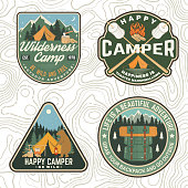 Set of Summer camp patches. Vector. Concept for shirt, print, stamp, apparel or tee. Vintage design with lantern, marshmallow, campin tent, axe, mountain, campfire and forest silhouette