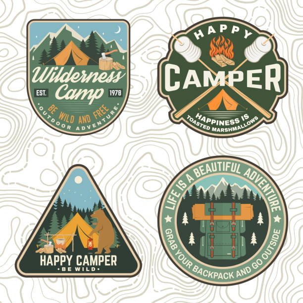 Set of Summer camp patches. Vector. Concept for shirt, stamp, apparel or tee. Vintage design with lantern, pocket knife, campin tent, axe, mountain, campfire and forest silhouette. Set of Summer camp patches. Vector. Concept for shirt, print, stamp, apparel or tee. Vintage design with lantern, marshmallow, campin tent, axe, mountain, campfire and forest silhouette adventure silhouettes stock illustrations
