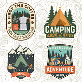 Set of Summer camp patches. Vector. Concept print, stamp, apparel or tee. Vintage design with coffee maker, campin tent, axe, mountain, campfire and forest silhouette