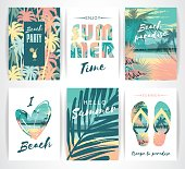 Set of summer cards with hand-drawing elements. Vector illustrations