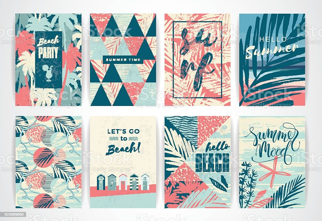 Set of summer cards with hand-drawing elements. vector art illustration