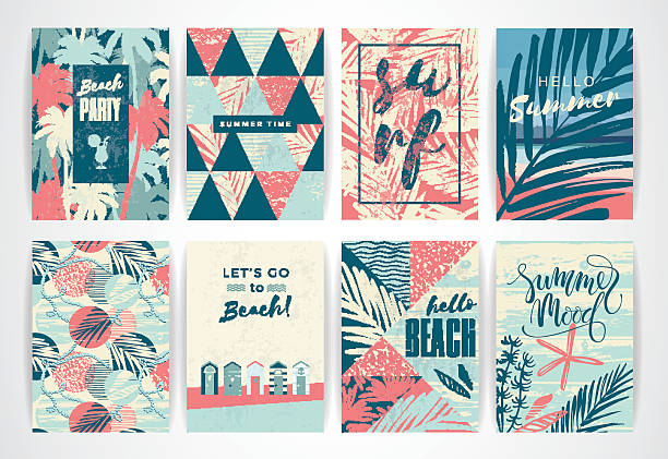 set of summer cards with hand-drawing elements. - beach fashion stock illustrations, clip art, cartoons, & icons