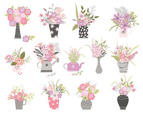Set of summer cartoon flowers in n pots and vase