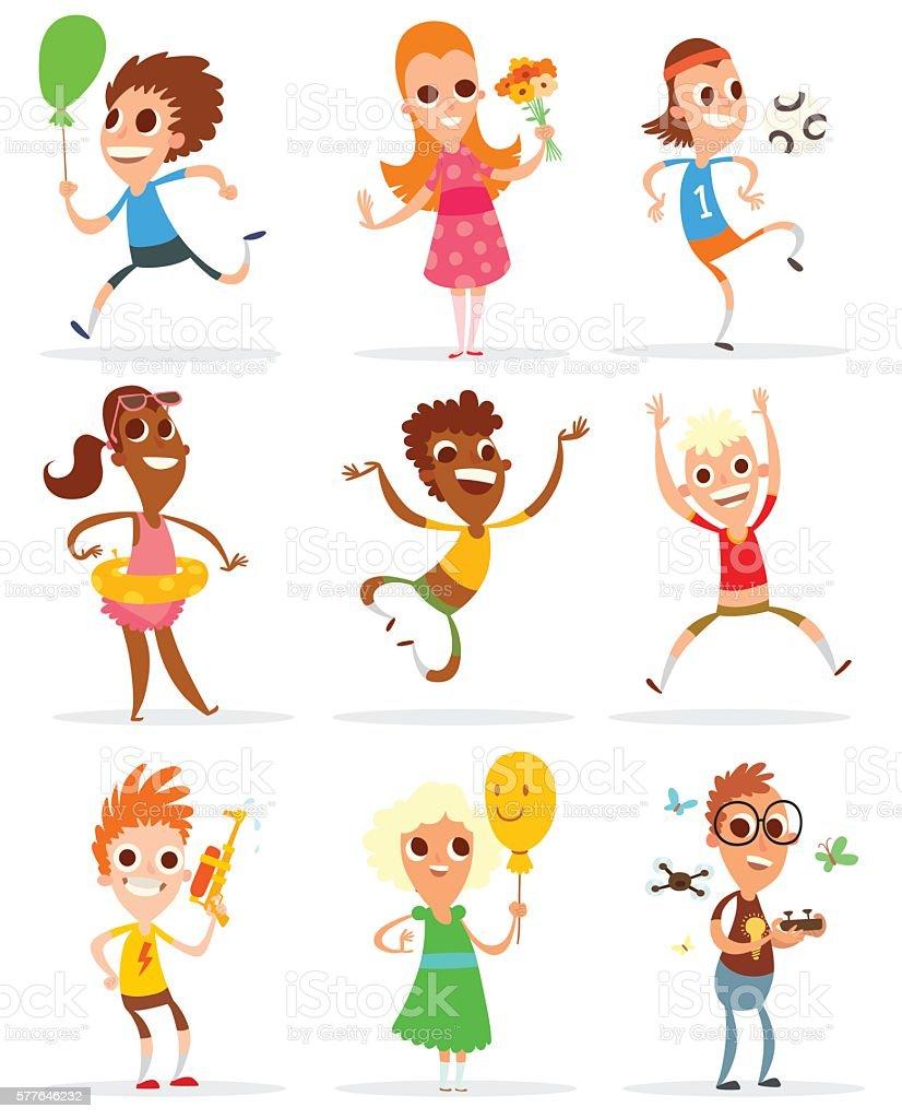 Set of summer children vector art illustration