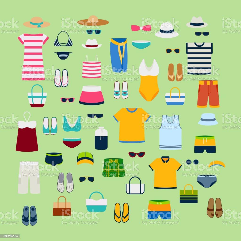 Ensemble de vêtements d'été et accessoires vector illustration mode vêtements image stylisme - Illustration vectorielle