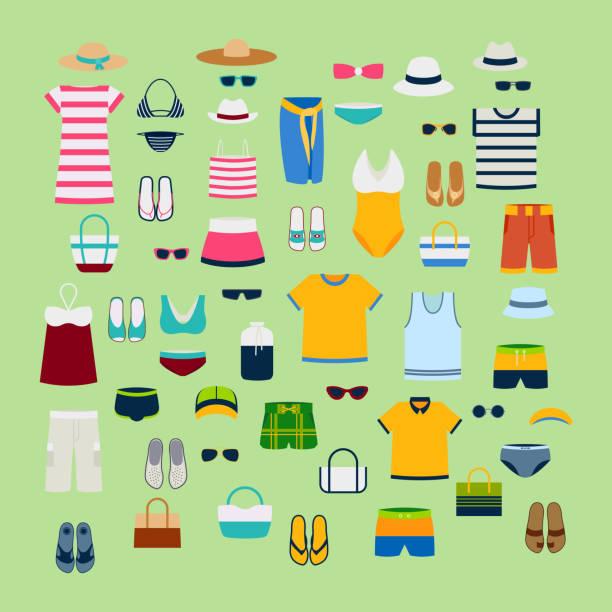 設置的夏天的衣服和配件向量圖時尚服裝時裝形象設計 - 衣服 幅插畫檔、美工圖案、卡通及圖標