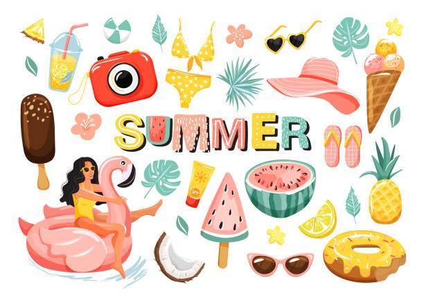 satz von sommer niedlichen elementen. - gartendekorationen stock-grafiken, -clipart, -cartoons und -symbole