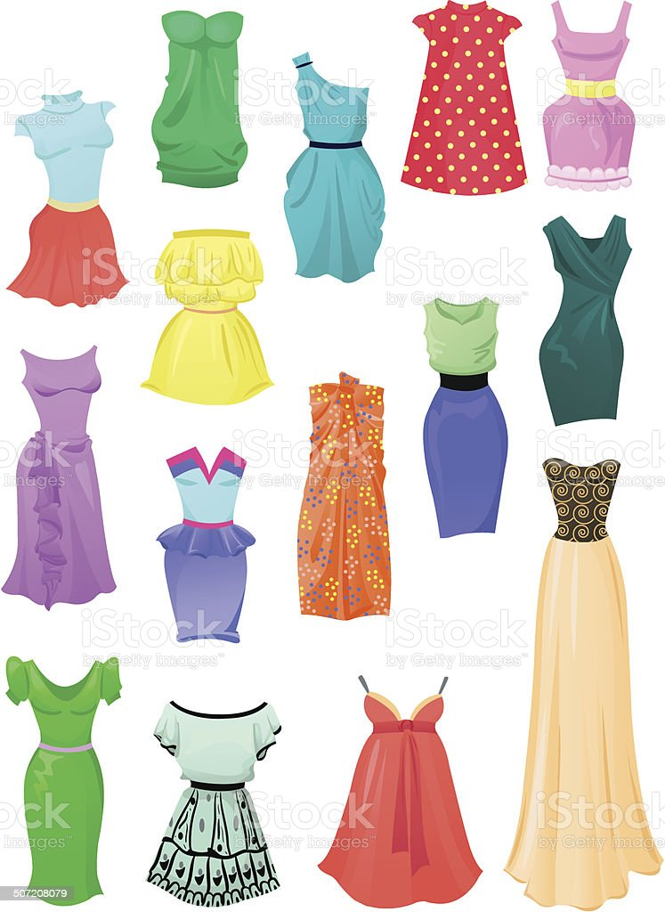 Set of summer dresses vector art illustration