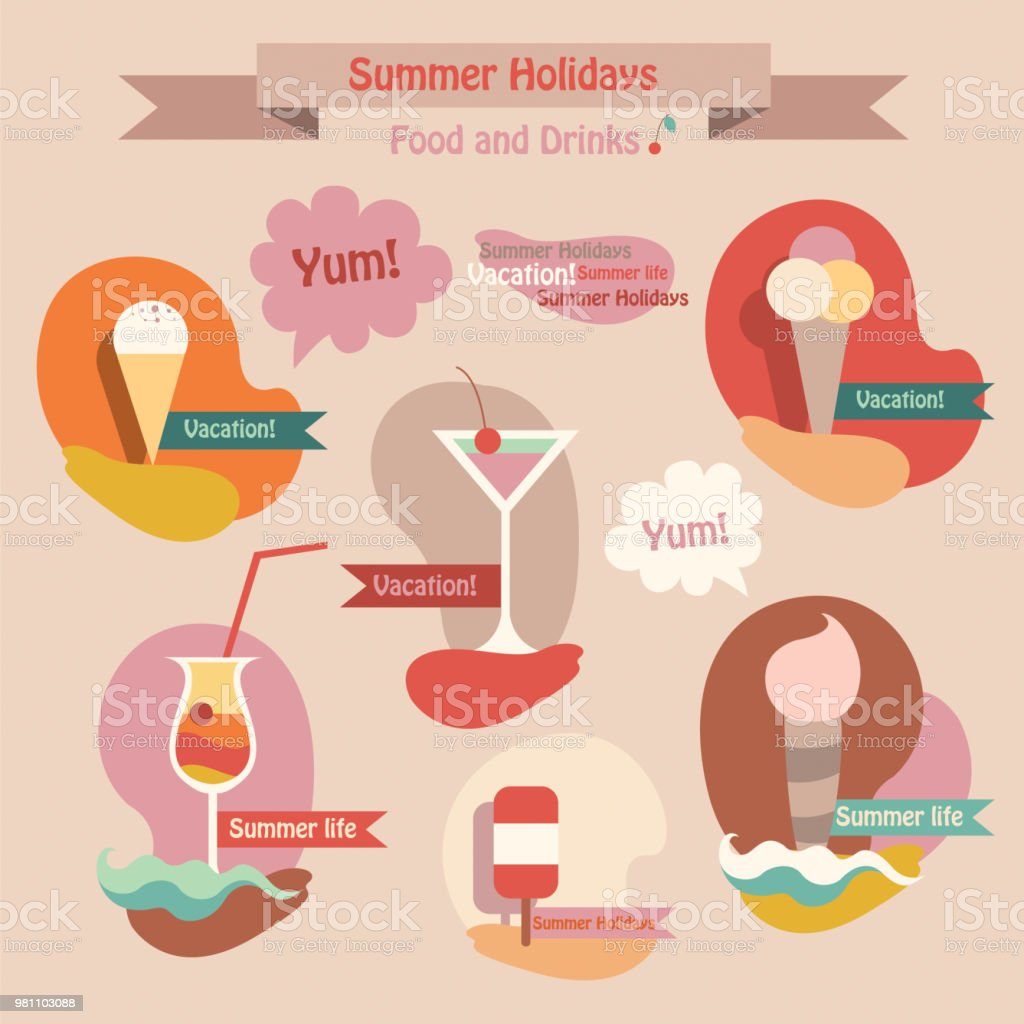Set of summer drinks and food icecream, juice, cocktail. Vector...