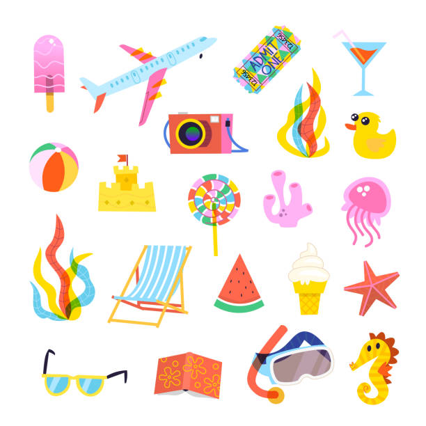 Set of summer elements Summer beach vacation items and icons. Collection of bright colorful elements. Isolated vector illustrations. pool party stock illustrations