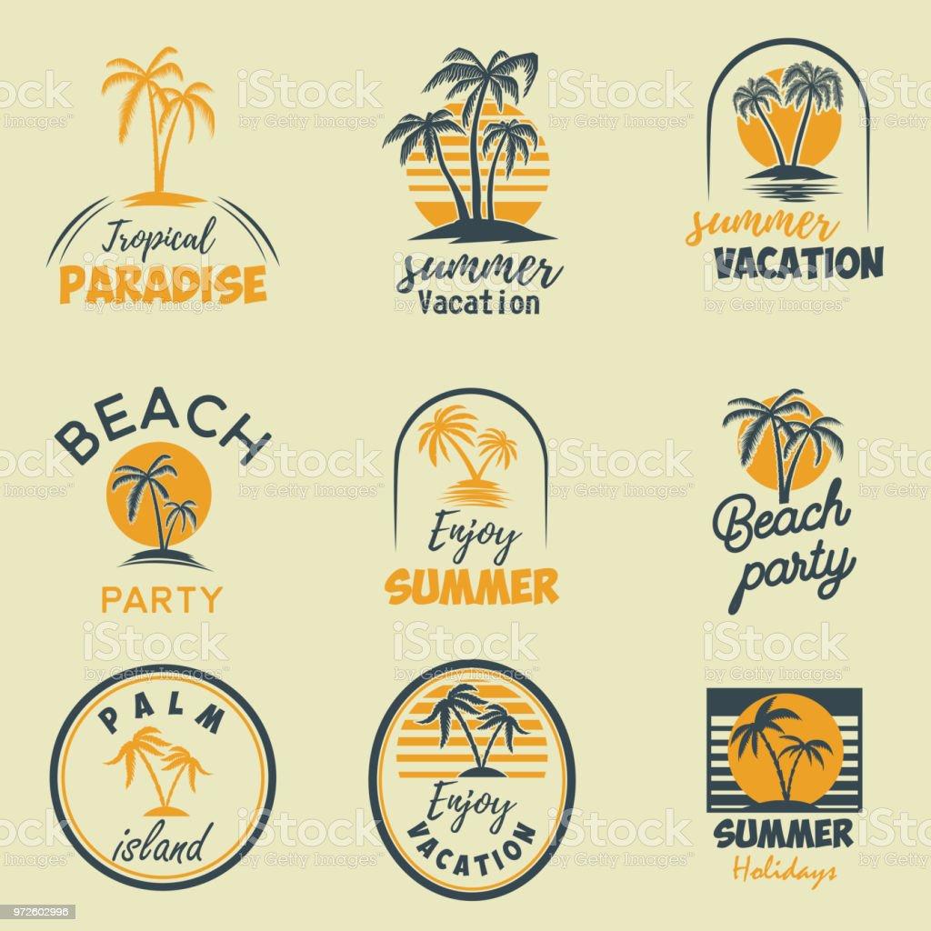 Yaz amblem ve tasarım öğeleri kümesi. Tasarım öğesi etiket, poster, yazdırma, kart, afiş, işaret için. - Royalty-free Alıntı - Yazı Vector Art