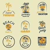 Set of summer emblems and design elements. Design element for  label, poster, print, card, banner, sign. Vector image