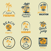 Set of summer emblems and design elements. Design element for  label, poster, print, card, banner, sign.