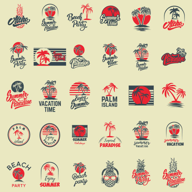 set of summer emblems with palms. for emblem, sign,  label, badge. - beach fashion stock illustrations, clip art, cartoons, & icons